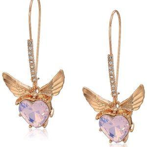 Betsey Johnson Heart & Wings Drop Earrings-NWT